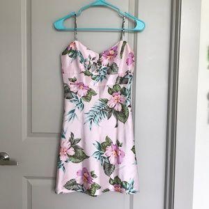 Lavender Pastel Purple Tropical Floral Print Dress